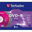 Verbatim DVD+R 4.7GB 16X Colour Slim 5шт (43556)